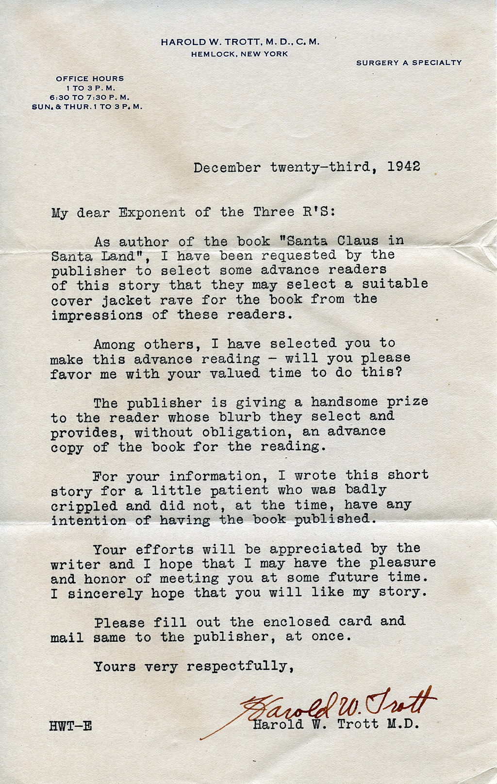 Dr harold w trott letter of 1942 to book reviewers hemlock and this is the letter he sent to selected people to ask them to review his book this letter was shared by lore disalvo spiritdancerdesigns Image collections